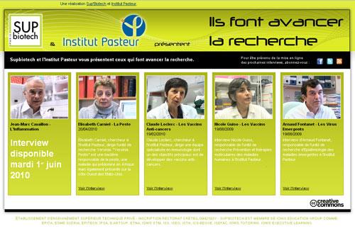 L'Institut Pasteur et Sup'Biotech présentent le mini-site « Ils font avancer la recherche ».